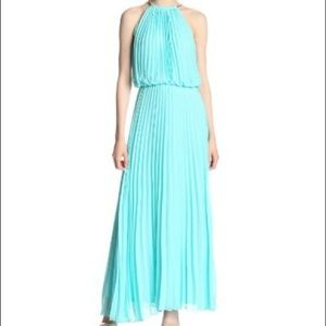 MSK Pleated, Halter Gown